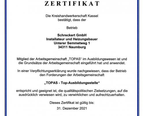 TOPAS Zertifikat 2021