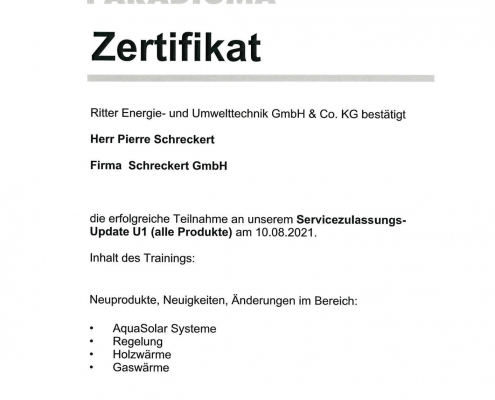 PARADIGMA Servicezulassung 2021